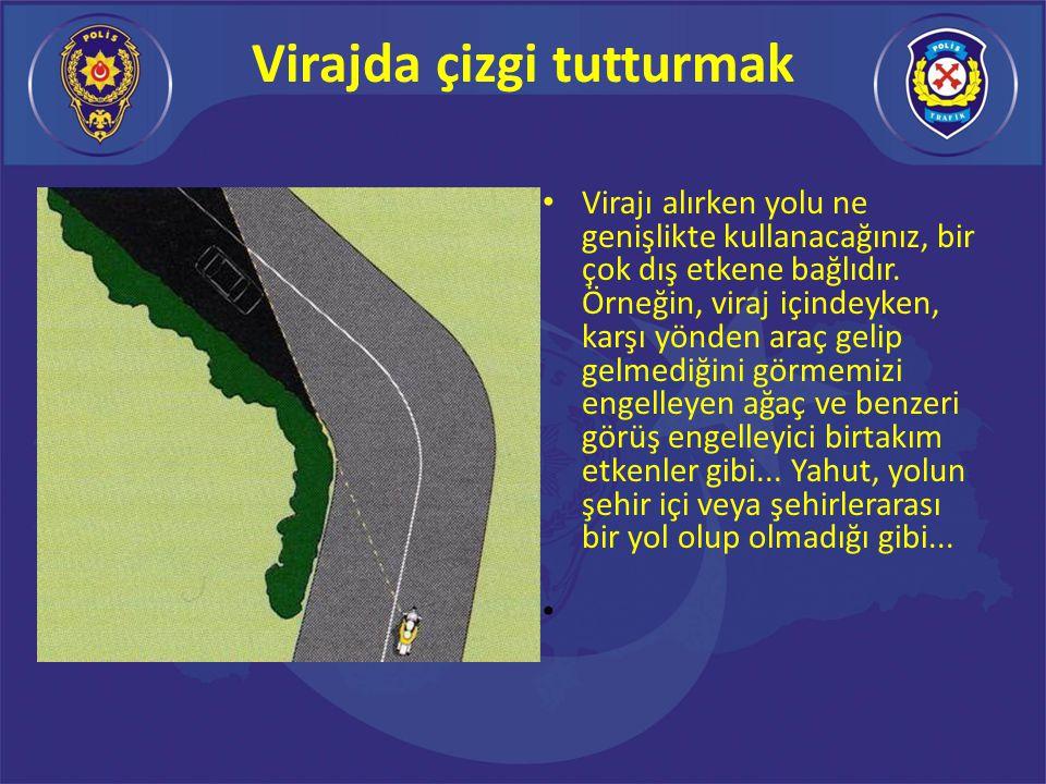 DOĞRU VİRAJ ALMA Doğru viraj alımında ideal sürüş çizgisi dıştan gir -içe kapan - tekrar dışa açıl şeklinde olmalıdır.
