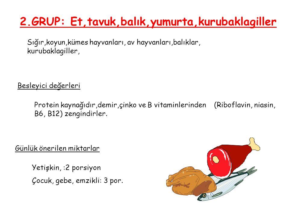 2.GRUP: Et,tavuk,balık,yumurta,kurubaklagiller Sığır,koyun,kümes hayvanları, av hayvanları,balıklar, kurubaklagiller, Besleyici değerleri Günlük öneri