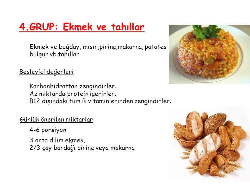 4.GRUP: Ekmek ve tahıllar Besleyici değerleri Günlük önerilen miktarlar Ekmek ve buğday, mısır,pirinç,makarna, patates bulgur vb.tahıllar Karbonhidrat