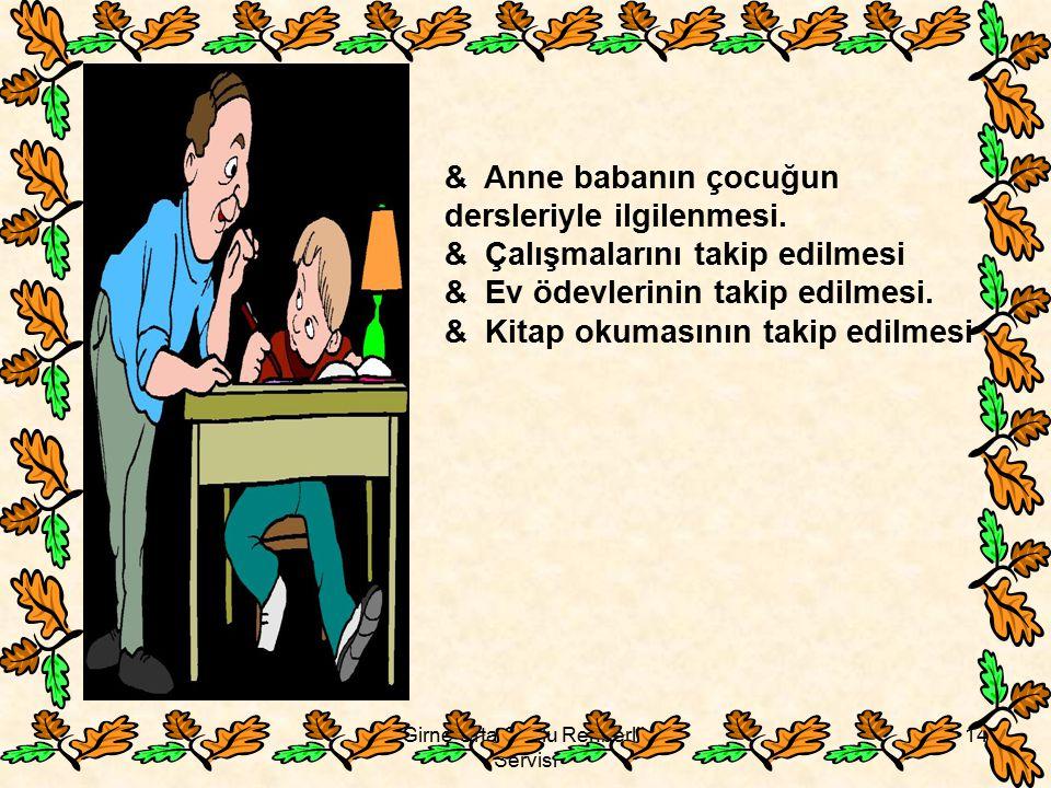 Girne Orta Okulu Rehberlik Servisi 14 & Anne babanın çocuğun dersleriyle ilgilenmesi. & Çalışmalarını takip edilmesi & Ev ödevlerinin takip edilmesi.