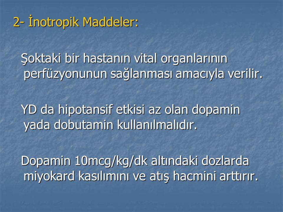 2- İnotropik Maddeler: Şoktaki bir hastanın vital organlarının perfüzyonunun sağlanması amacıyla verilir. Şoktaki bir hastanın vital organlarının perf