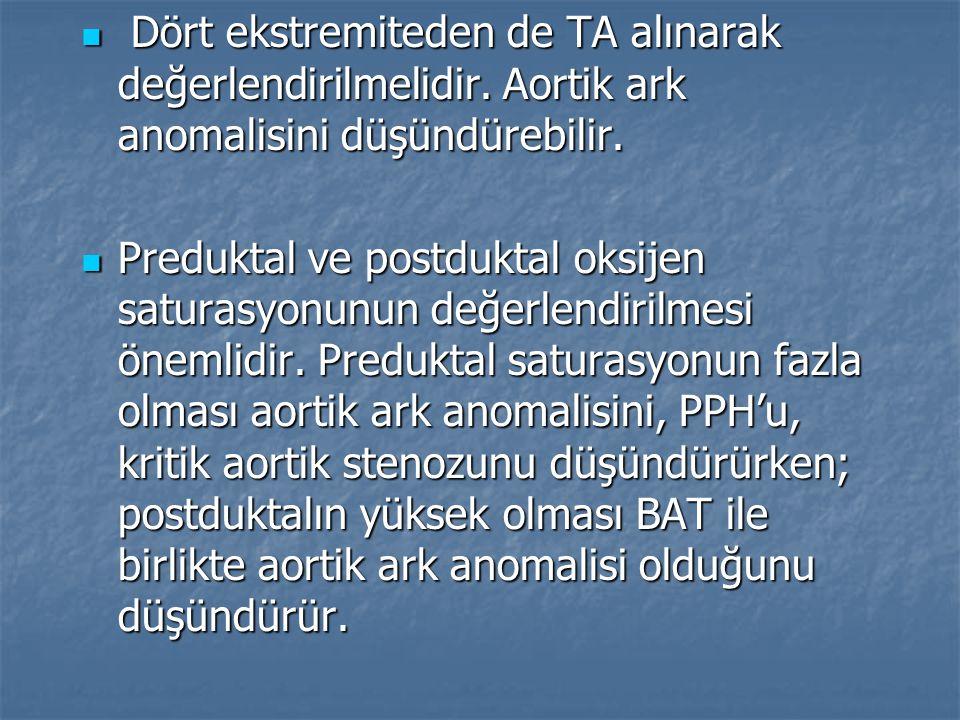 Dört ekstremiteden de TA alınarak değerlendirilmelidir. Aortik ark anomalisini düşündürebilir. Dört ekstremiteden de TA alınarak değerlendirilmelidir.
