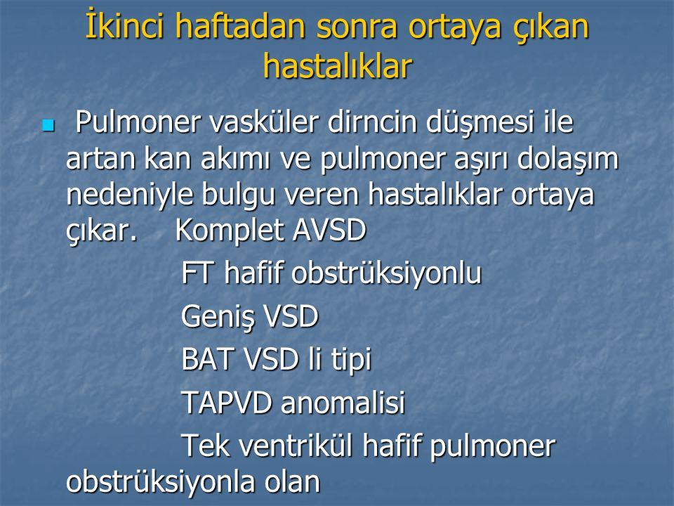 İkinci haftadan sonra ortaya çıkan hastalıklar Pulmoner vasküler dirncin düşmesi ile artan kan akımı ve pulmoner aşırı dolaşım nedeniyle bulgu veren h