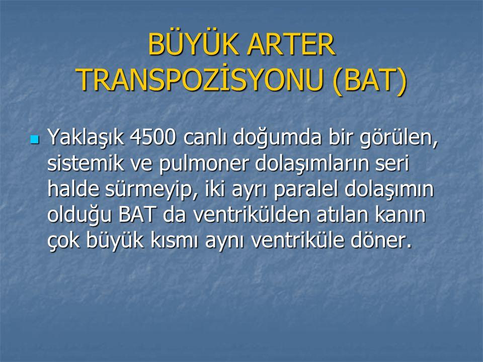 BÜYÜK ARTER TRANSPOZİSYONU (BAT) Yaklaşık 4500 canlı doğumda bir görülen, sistemik ve pulmoner dolaşımların seri halde sürmeyip, iki ayrı paralel dola