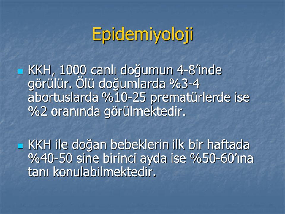 Epidemiyoloji KKH, 1000 canlı doğumun 4-8'inde görülür. Ölü doğumlarda %3-4 abortuslarda %10-25 prematürlerde ise %2 oranında görülmektedir. KKH, 1000