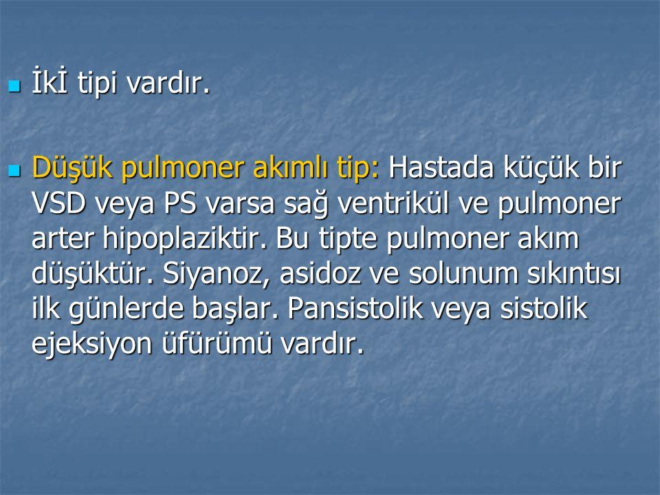 İkİ tipi vardır. İkİ tipi vardır. Düşük pulmoner akımlı tip: Hastada küçük bir VSD veya PS varsa sağ ventrikül ve pulmoner arter hipoplaziktir. Bu tip