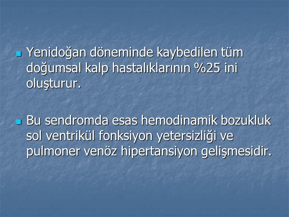 Yenidoğan döneminde kaybedilen tüm doğumsal kalp hastalıklarının %25 ini oluşturur. Yenidoğan döneminde kaybedilen tüm doğumsal kalp hastalıklarının %