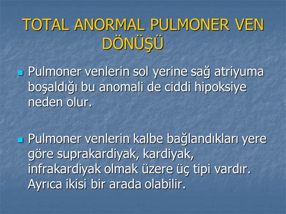 TOTAL ANORMAL PULMONER VEN DÖNÜŞÜ TOTAL ANORMAL PULMONER VEN DÖNÜŞÜ Pulmoner venlerin sol yerine sağ atriyuma boşaldığı bu anomali de ciddi hipoksiye