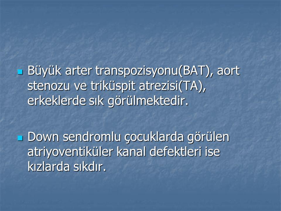 Büyük arter transpozisyonu(BAT), aort stenozu ve triküspit atrezisi(TA), erkeklerde sık görülmektedir. Büyük arter transpozisyonu(BAT), aort stenozu v
