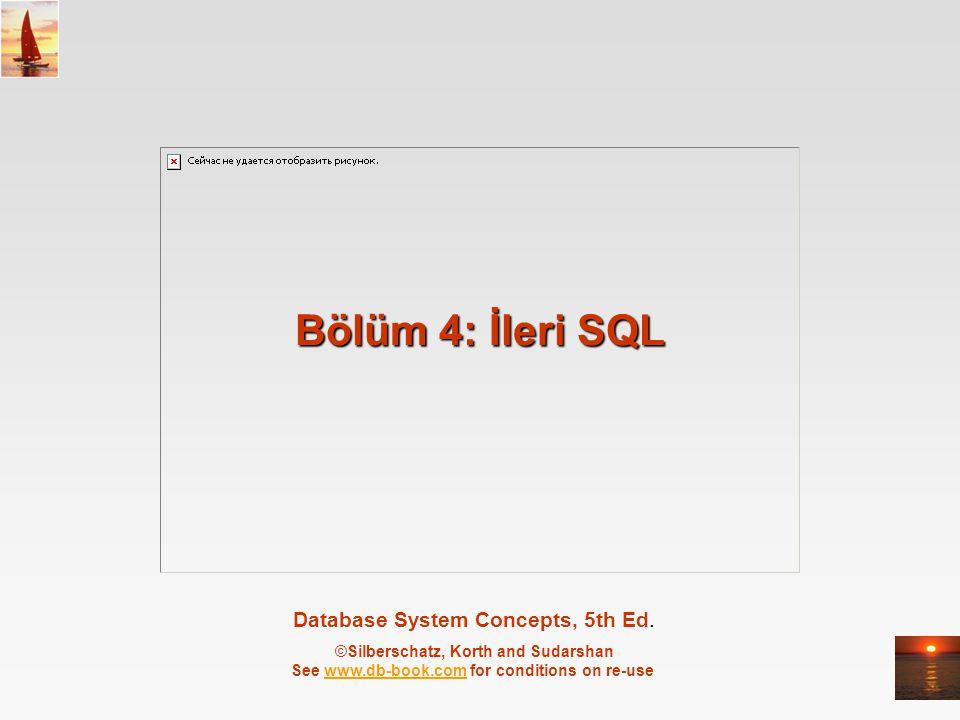 ©Silberschatz, Korth and Sudarshan4.12Database System Concepts - 5 th Edition, June 15, 2005 Anahtar tanımlama Birincil ve yabancıl anahtarlar SQL create table ifadesinin içerisinde yer alabilirler primary key ifadesi birincil anahtarı oluşturan sütun/sütunları içerir.
