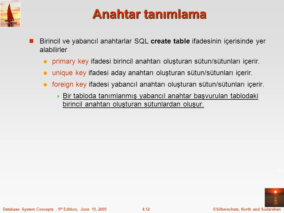 ©Silberschatz, Korth and Sudarshan4.12Database System Concepts - 5 th Edition, June 15, 2005 Anahtar tanımlama Birincil ve yabancıl anahtarlar SQL cre