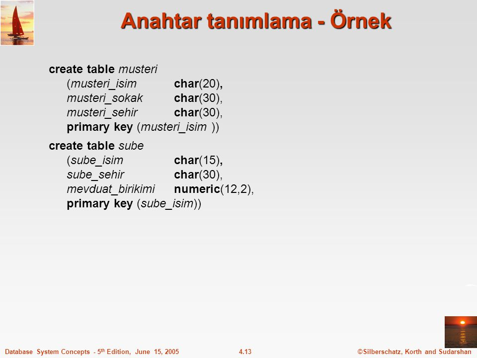 ©Silberschatz, Korth and Sudarshan4.13Database System Concepts - 5 th Edition, June 15, 2005 Anahtar tanımlama - Örnek create table musteri (musteri_i