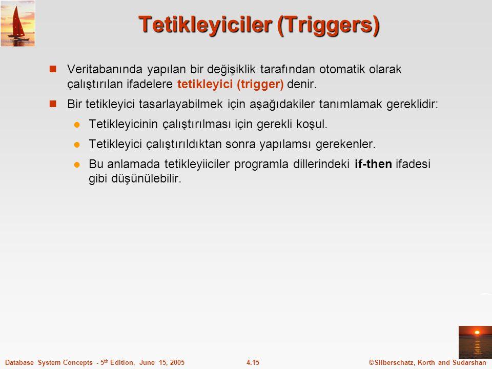 ©Silberschatz, Korth and Sudarshan4.15Database System Concepts - 5 th Edition, June 15, 2005 Tetikleyiciler (Triggers) Veritabanında yapılan bir değişiklik tarafından otomatik olarak çalıştırılan ifadelere tetikleyici (trigger) denir.