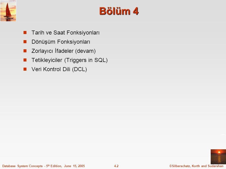 ©Silberschatz, Korth and Sudarshan4.13Database System Concepts - 5 th Edition, June 15, 2005 Anahtar tanımlama - Örnek create table musteri (musteri_isimchar(20), musteri_sokakchar(30), musteri_sehirchar(30), primary key (musteri_isim )) create table sube (sube_isimchar(15), sube_sehirchar(30), mevduat_birikiminumeric(12,2), primary key (sube_isim))