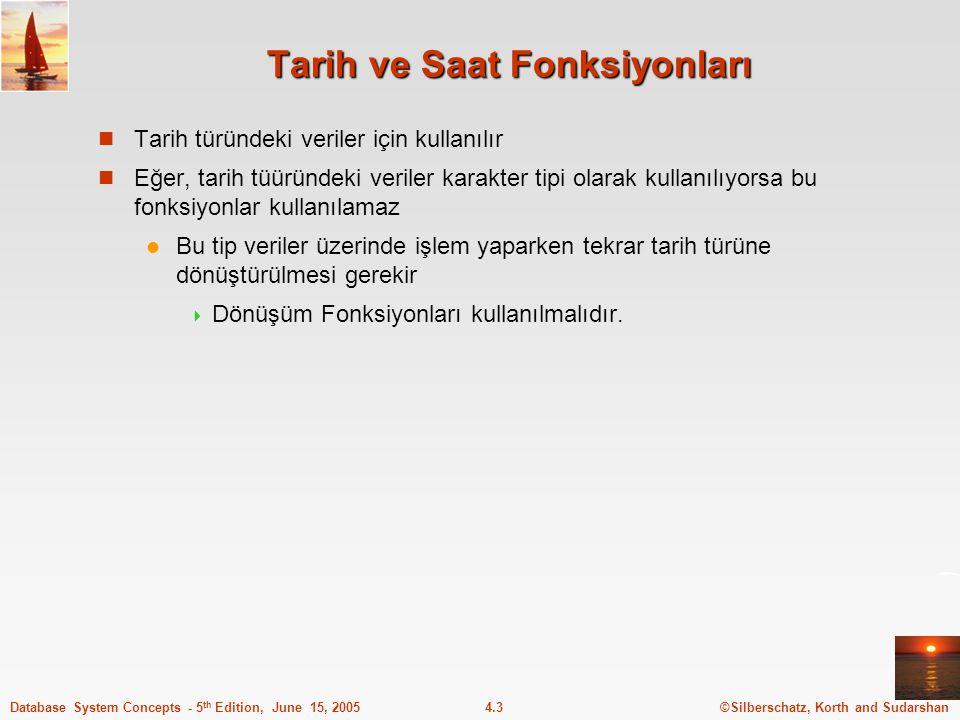 ©Silberschatz, Korth and Sudarshan4.14Database System Concepts - 5 th Edition, June 15, 2005 Anahtar tanımlama - Örnek create table hesap (hesap_no char(10), sube_isim char(15), mevduat_miktariinteger, primary key (hesap_no), foreign key (sube_isim) references sube) create table depositor (musteri_isim char(20), hesap_no char(10), primary key (musteri_isim, hesap_no), foreign key (hesap_no) references hesap, foreign key (musteri_isim) references musteri) Not: sube tablosu musteri ile hesap varllıkları arasındaki ilişkiyi temsil eder.