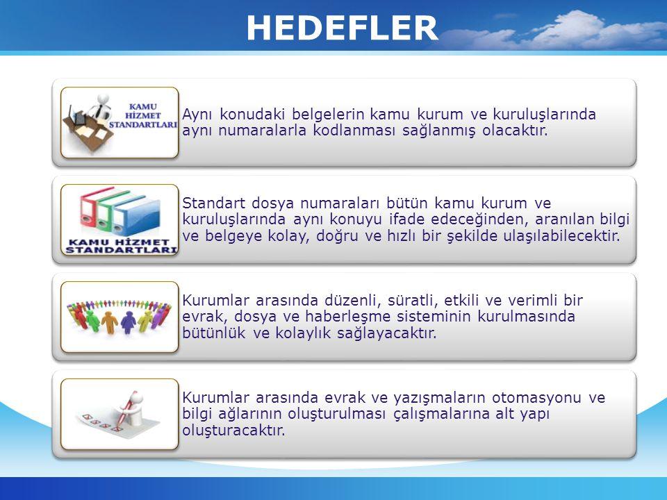 TEXT Aynı konudaki belgelerin kamu kurum ve kuruluşlarında aynı numaralarla kodlanması sağlanmış olacaktır. Standart dosya numaraları bütün kamu kurum