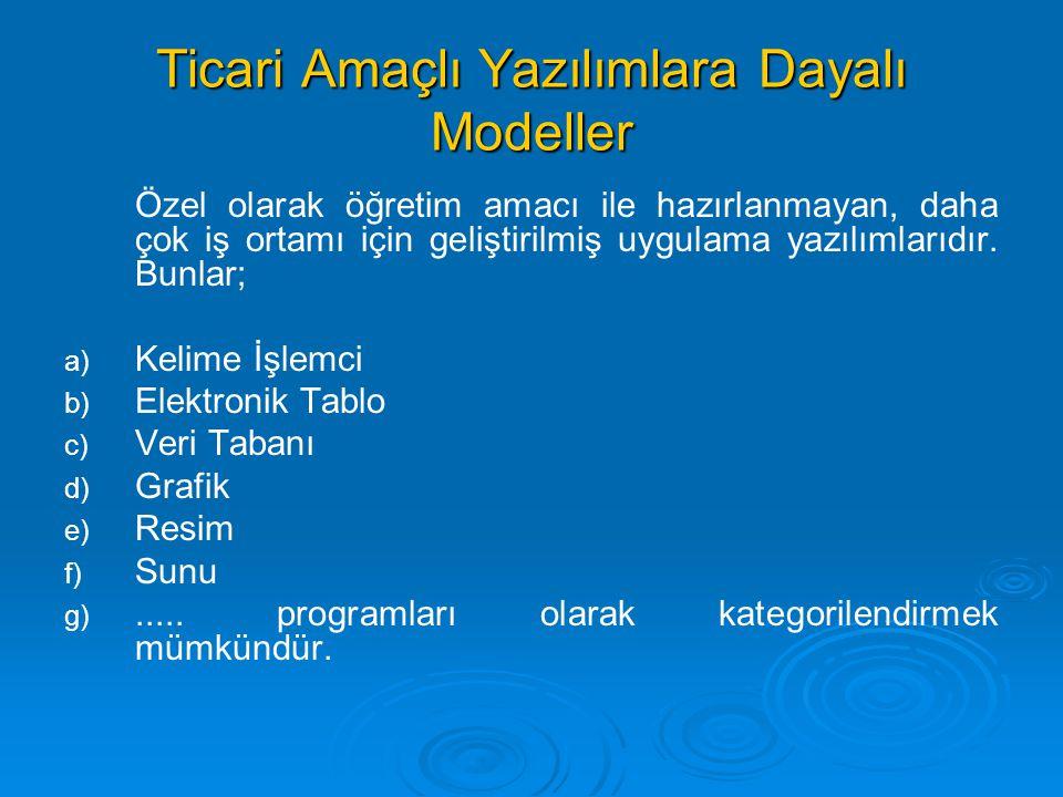 Ticari Amaçlı Yazılımlara Dayalı Modeller Özel olarak öğretim amacı ile hazırlanmayan, daha çok iş ortamı için geliştirilmiş uygulama yazılımlarıdır.
