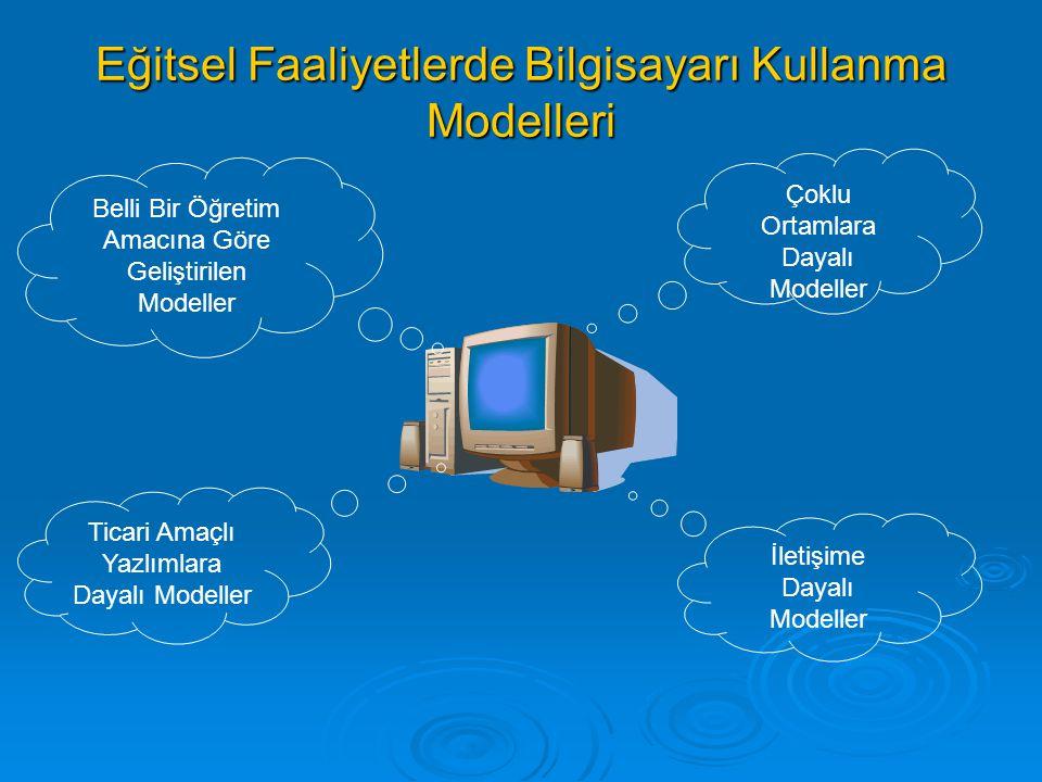 Eğitsel Faaliyetlerde Bilgisayarı Kullanma Modelleri Belli Bir Öğretim Amacına Göre Geliştirilen Modeller Ticari Amaçlı Yazlımlara Dayalı Modeller Çok
