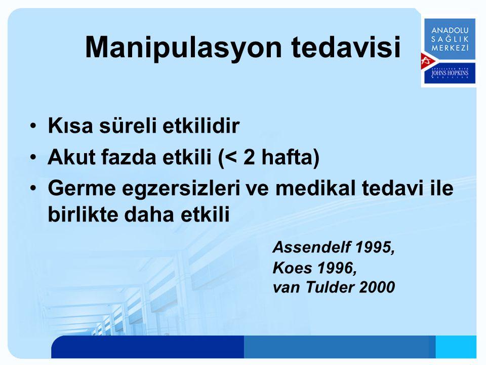 Manipulasyon tedavisi Kısa süreli etkilidir Akut fazda etkili (< 2 hafta) Germe egzersizleri ve medikal tedavi ile birlikte daha etkili Assendelf 1995