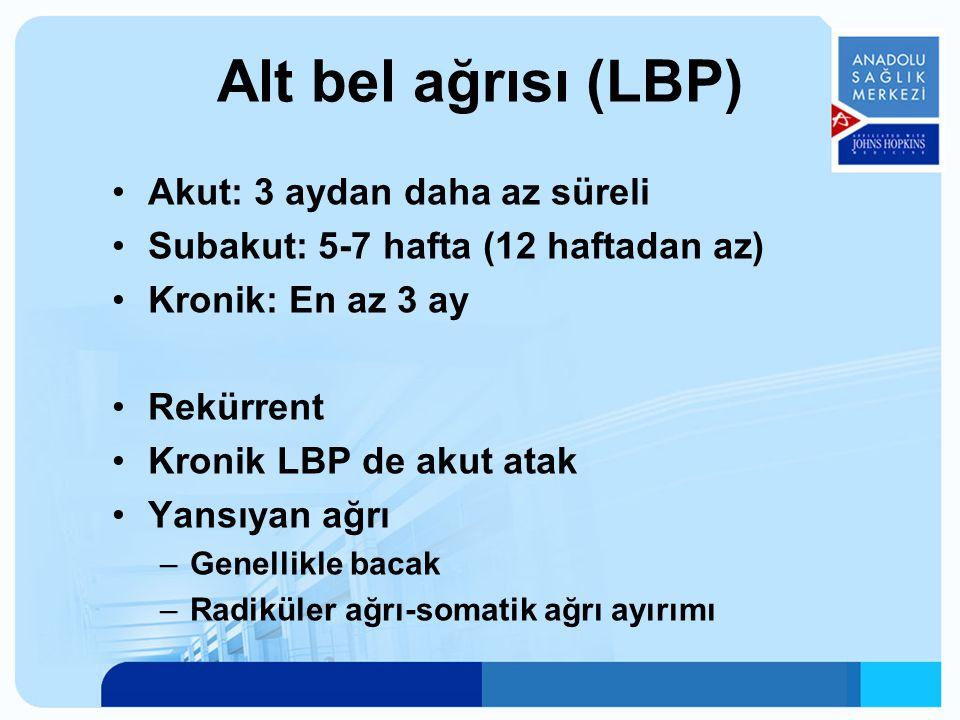 Superfisyel somatik ağrı (cilt- ciltaltı) Derin somatik ağrı (kaslar, fasya, periost, ligamanlar, eklemler, dura) Radiküler (spinal sinirler) Yansıyan visseral ağrı (Abdominal ve pelvik organlar, aorta) Nörojenik ağrı Psikojenik ağrı LBP