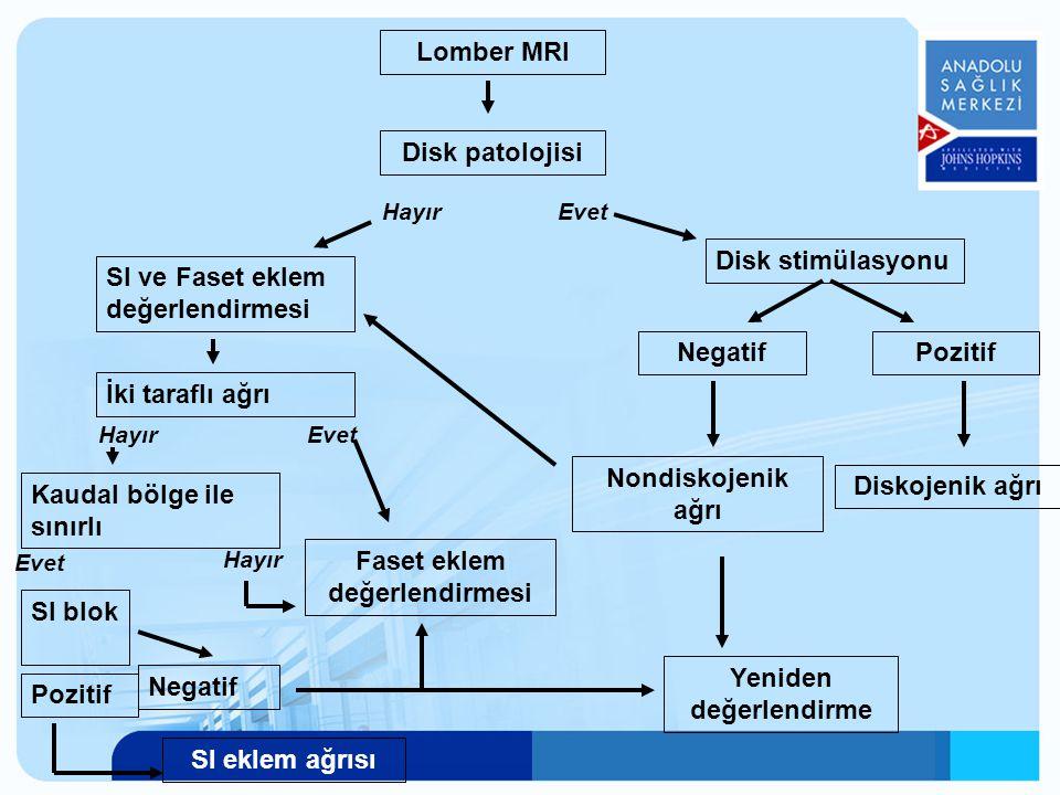 Lomber MRI Disk patolojisi EvetHayır Disk stimülasyonu NegatifPozitif Diskojenik ağrı Nondiskojenik ağrı SI ve Faset eklem değerlendirmesi İki taraflı