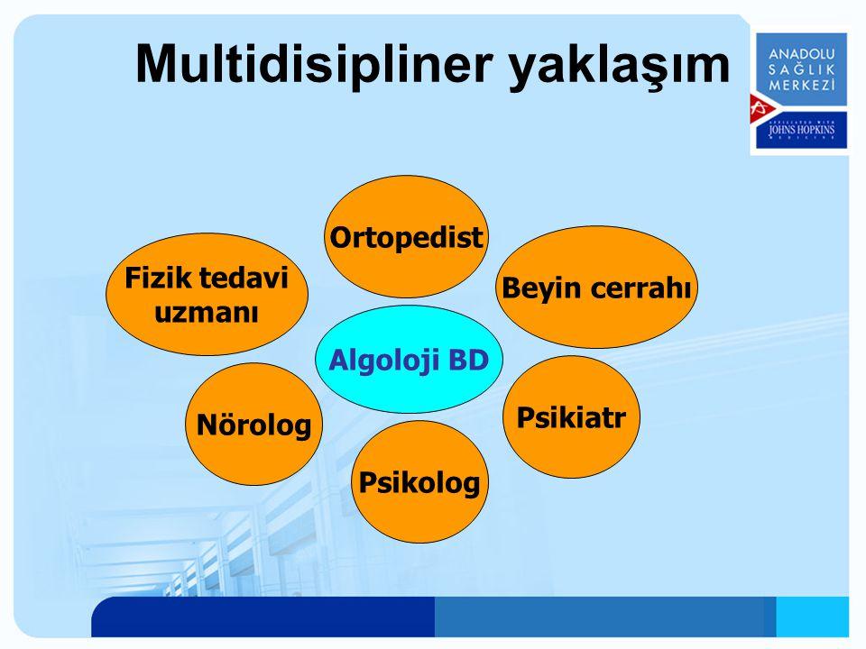 Multidisipliner yaklaşım Psikolog Algoloji BD Psikiatr Nörolog Beyin cerrahı Fizik tedavi uzmanı Ortopedist