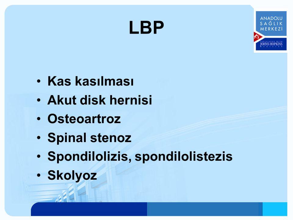 Kas kasılması Akut disk hernisi Osteoartroz Spinal stenoz Spondilolizis, spondilolistezis Skolyoz LBP