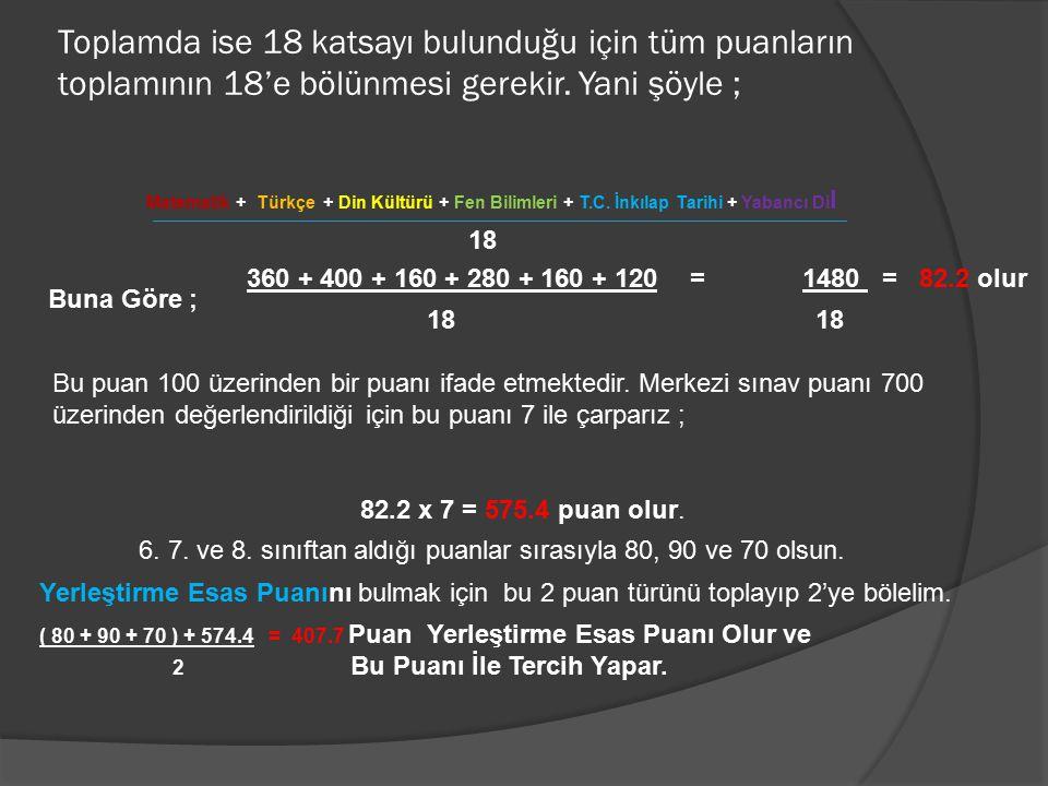 Toplamda ise 18 katsayı bulunduğu için tüm puanların toplamının 18'e bölünmesi gerekir. Yani şöyle ; Matematik + Türkçe + Din Kültürü + Fen Bilimleri