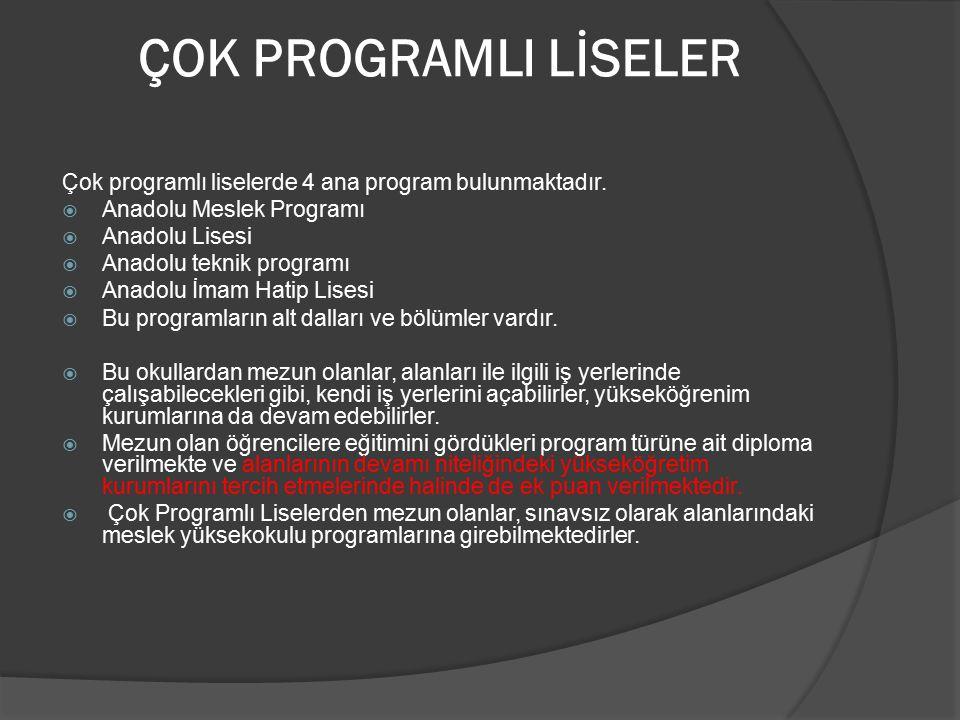 ÇOK PROGRAMLI LİSELER Çok programlı liselerde 4 ana program bulunmaktadır.  Anadolu Meslek Programı  Anadolu Lisesi  Anadolu teknik programı  Anad