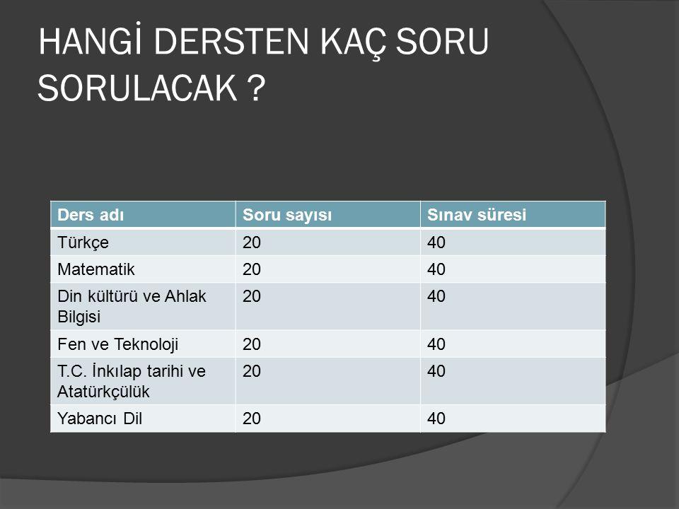 HANGİ DERSTEN KAÇ SORU SORULACAK ? Ders adıSoru sayısıSınav süresi Türkçe2040 Matematik2040 Din kültürü ve Ahlak Bilgisi 2040 Fen ve Teknoloji2040 T.C