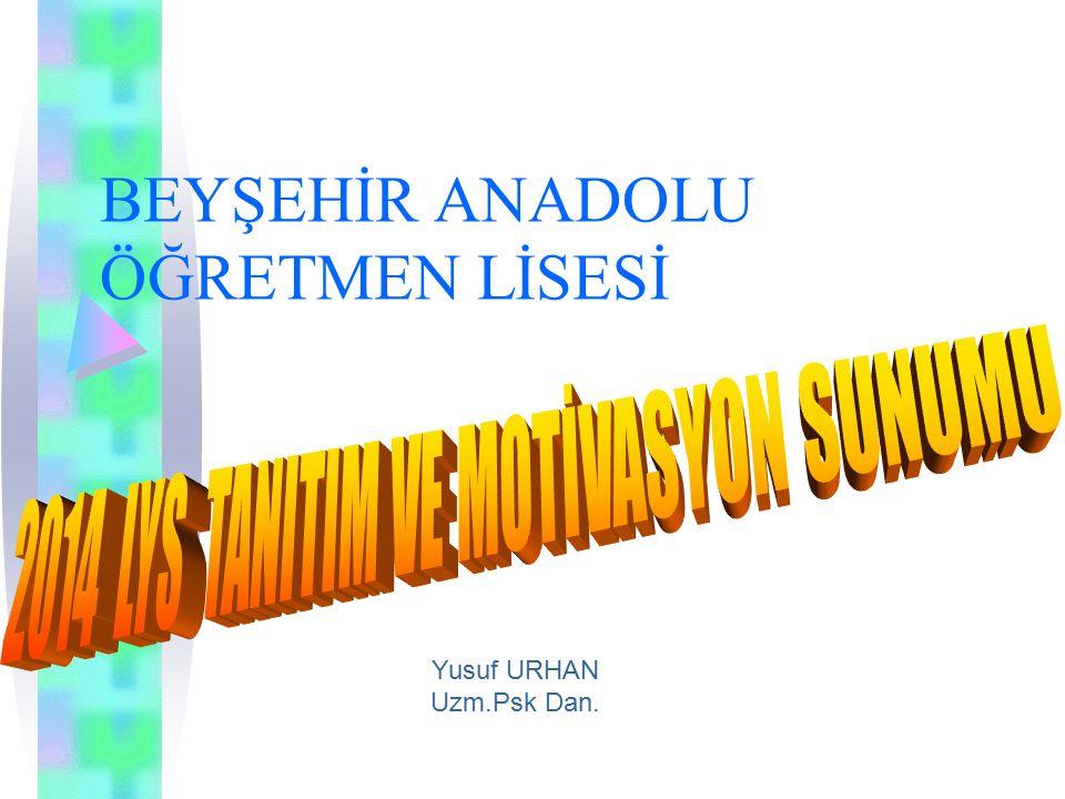 BEYŞEHİR ANADOLU ÖĞRETMEN LİSESİ Yusuf URHAN Uzm.Psk Dan.
