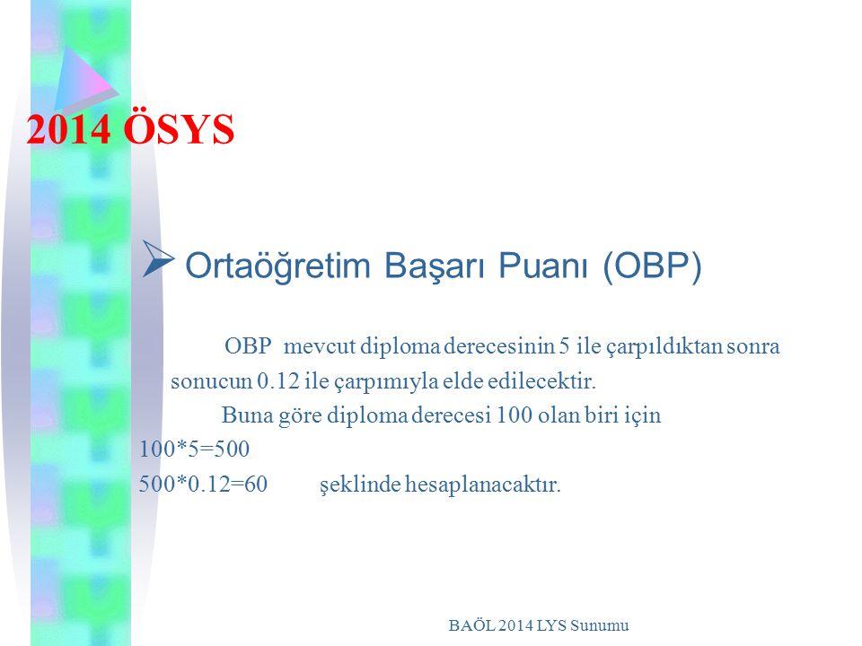 BAÖL 2014 LYS Sunumu 2014 ÖSYS  Ortaöğretim Başarı Puanı (OBP) OBP mevcut diploma derecesinin 5 ile çarpıldıktan sonra sonucun 0.12 ile çarpımıyla el