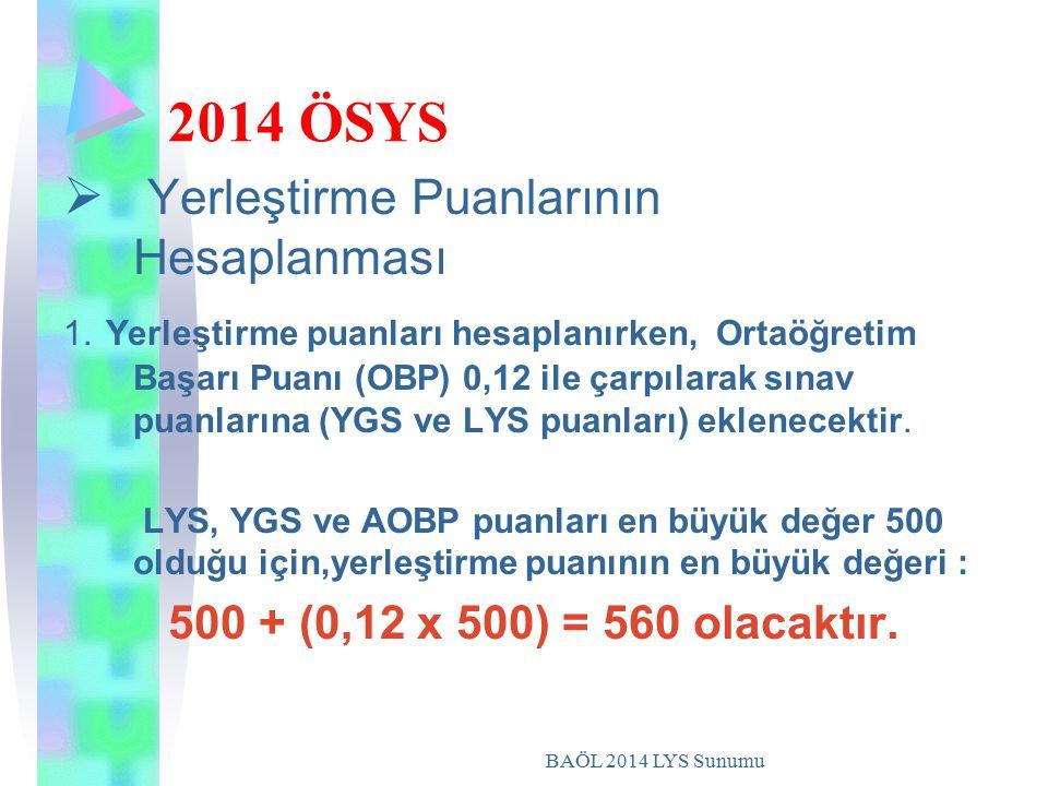 BAÖL 2014 LYS Sunumu 2014 ÖSYS  Y Yerleştirme Puanlarının Hesaplanması 1. Yerleştirme puanları hesaplanırken, Ortaöğretim Başarı Puanı (OBP) 0,12 il
