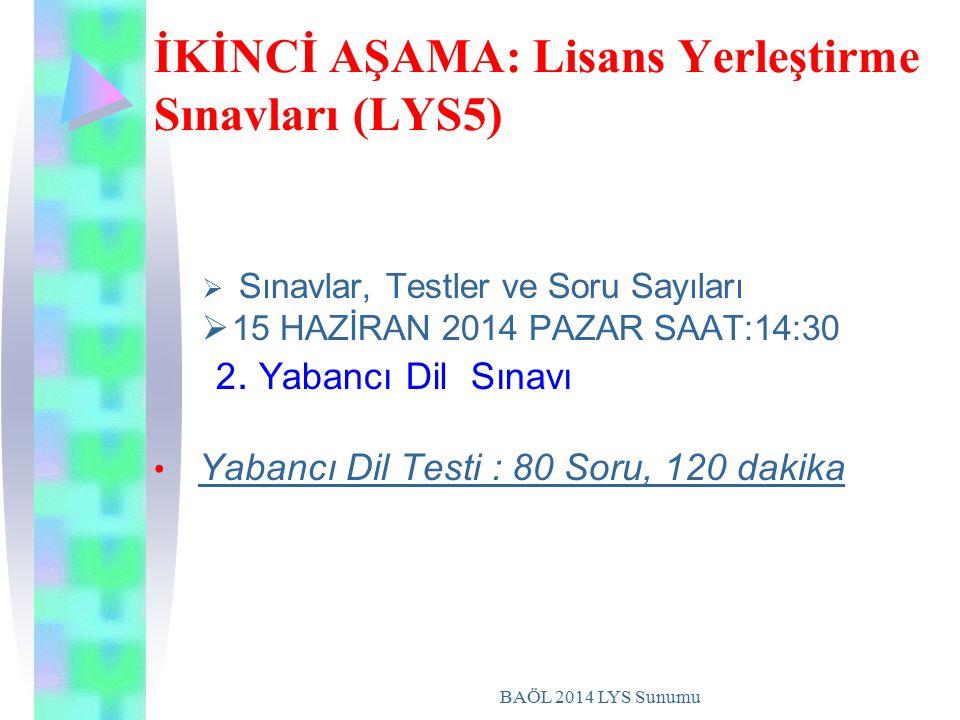 BAÖL 2014 LYS Sunumu İKİNCİ AŞAMA: Lisans Yerleştirme Sınavları (LYS5)  S Sınavlar, Testler ve Soru Sayıları 115 HAZİRAN 2014 PAZAR SAAT:14:30 2.