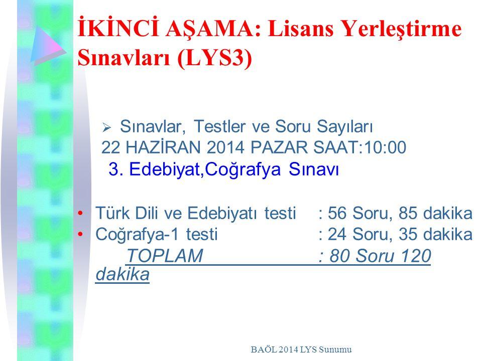 BAÖL 2014 LYS Sunumu İKİNCİ AŞAMA: Lisans Yerleştirme Sınavları (LYS3)  S Sınavlar, Testler ve Soru Sayıları 22 HAZİRAN 2014 PAZAR SAAT:10:00 3.