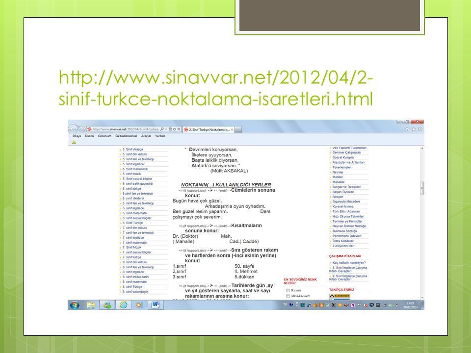 http://www.sinavvar.net/2012/04/2- sinif-turkce-noktalama-isaretleri.html