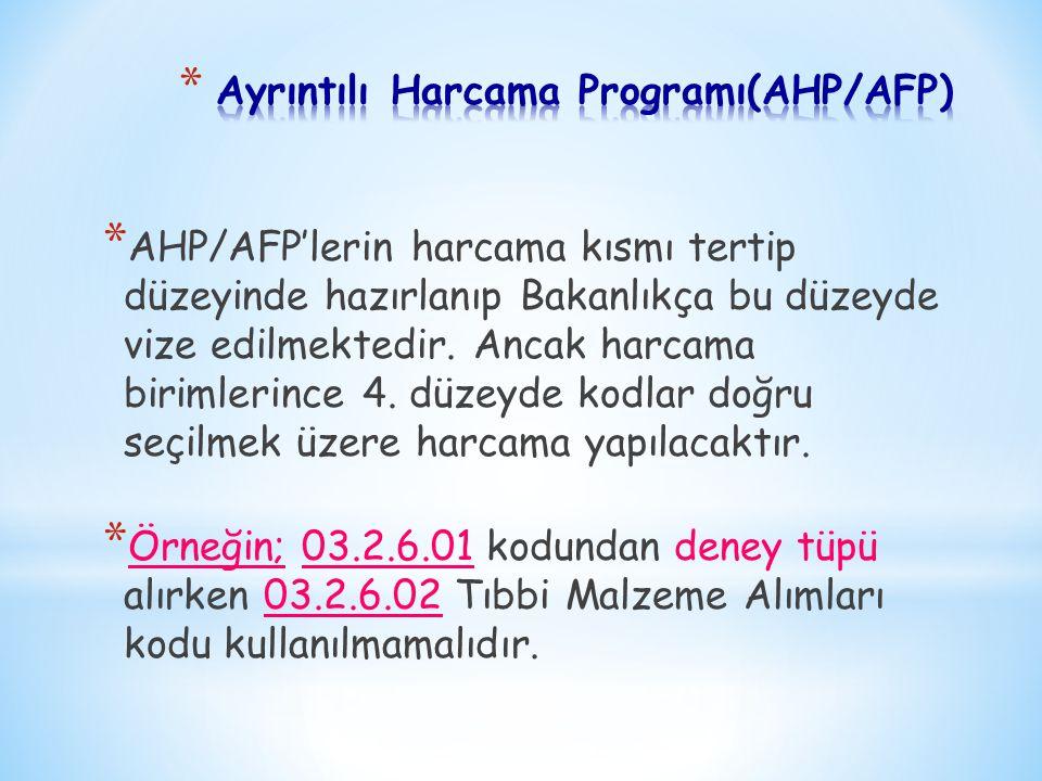 * AHP/AFP'lerin harcama kısmı tertip düzeyinde hazırlanıp Bakanlıkça bu düzeyde vize edilmektedir. Ancak harcama birimlerince 4. düzeyde kodlar doğru
