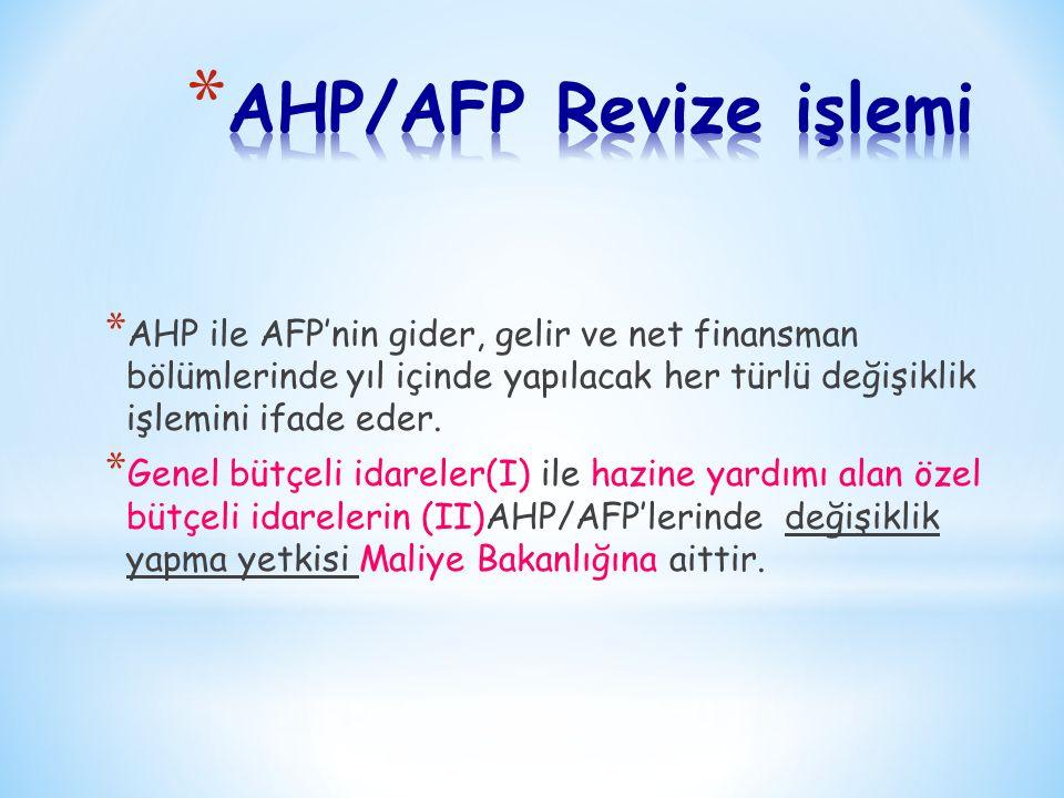 * AHP ile AFP'nin gider, gelir ve net finansman bölümlerinde yıl içinde yapılacak her türlü değişiklik işlemini ifade eder. * Genel bütçeli idareler(I