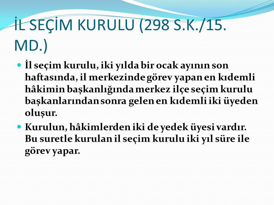İL SEÇİM KURULU (298 S.K./15.