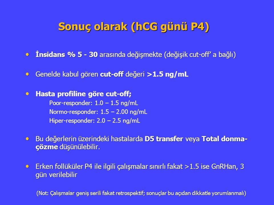 Sonuç olarak (hCG günü P4) İnsidans % 5 - 30 arasında değişmekte (değişik cut-off' a bağlı) İnsidans % 5 - 30 arasında değişmekte (değişik cut-off' a