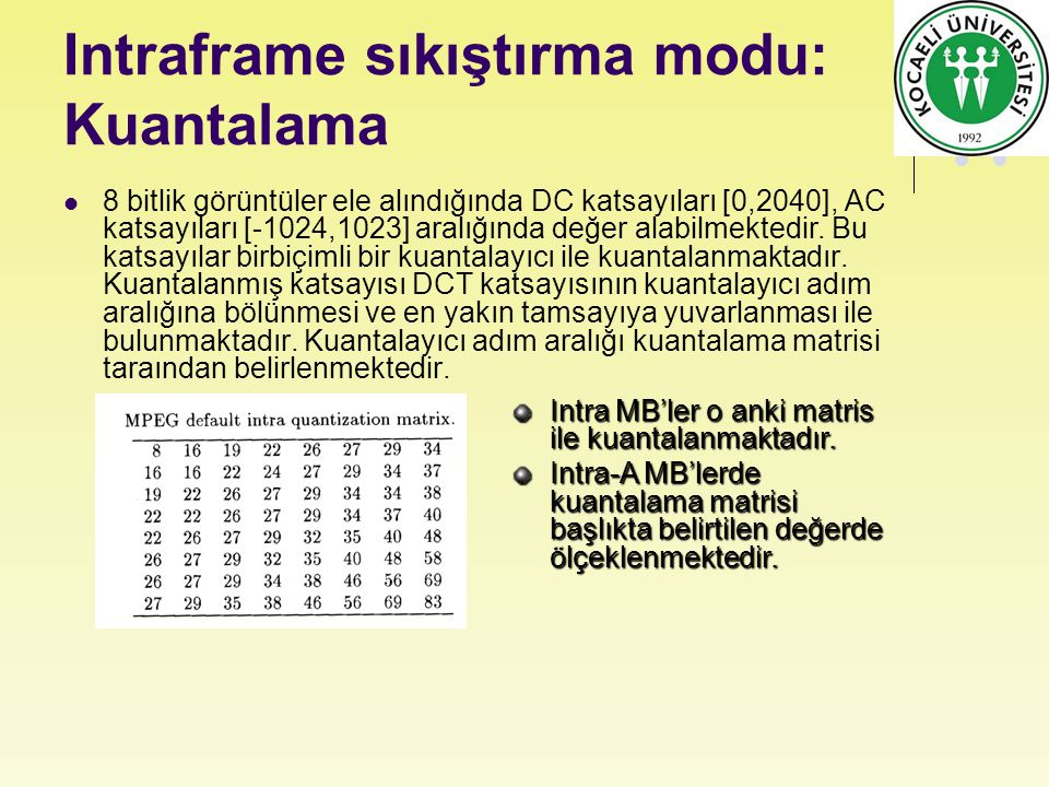 Intraframe sıkıştırma modu: Kuantalama 8 bitlik görüntüler ele alındığında DC katsayıları [0,2040], AC katsayıları [-1024,1023] aralığında değer alabilmektedir.