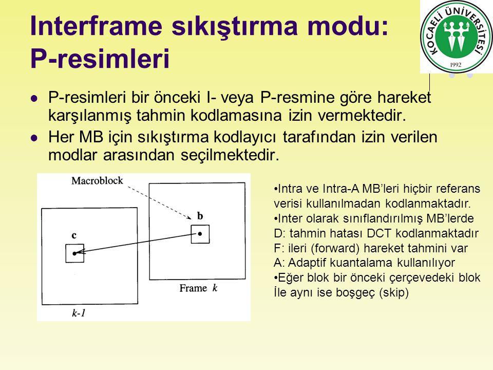 Interframe sıkıştırma modu: P-resimleri P-resimleri bir önceki I- veya P-resmine göre hareket karşılanmış tahmin kodlamasına izin vermektedir. Her MB
