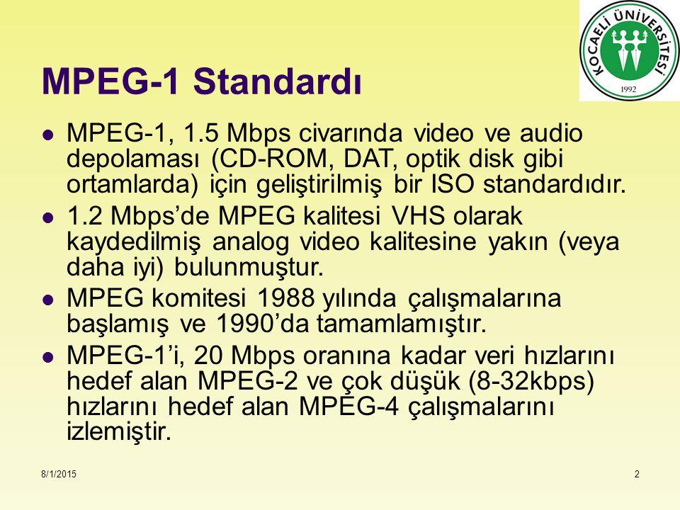 8/1/20152 MPEG-1 Standardı MPEG-1, 1.5 Mbps civarında video ve audio depolaması (CD-ROM, DAT, optik disk gibi ortamlarda) için geliştirilmiş bir ISO s