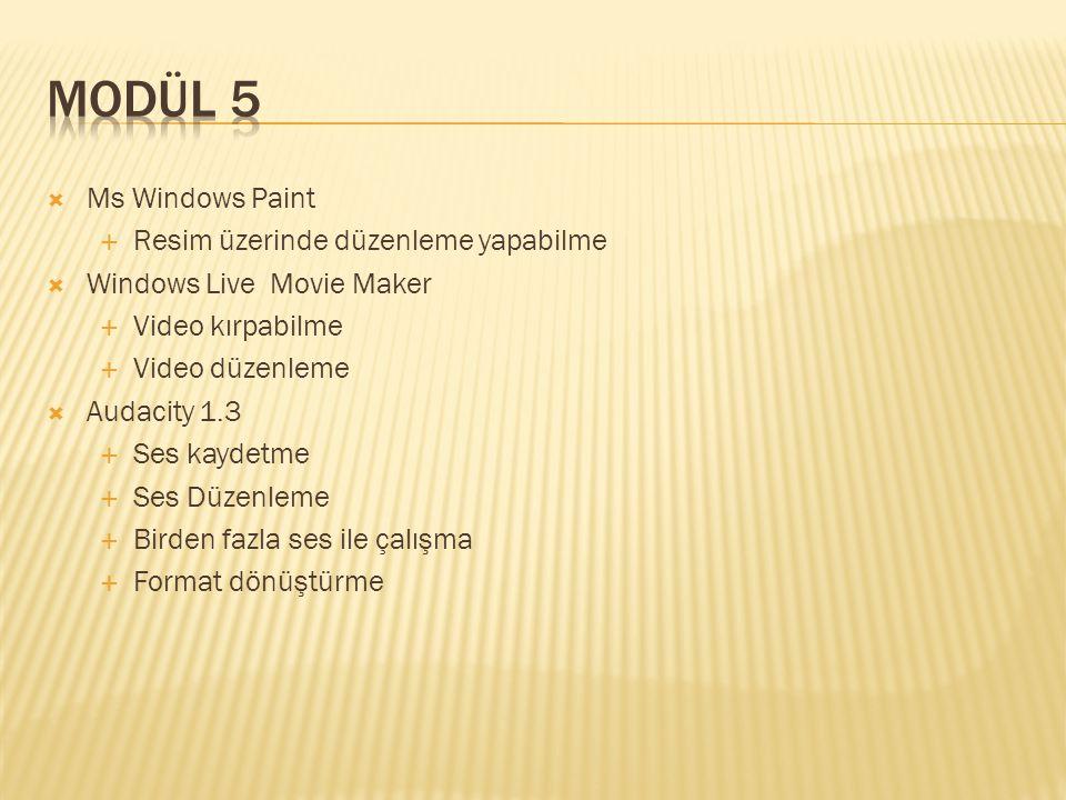  Ms Windows Paint  Resim üzerinde düzenleme yapabilme  Windows Live Movie Maker  Video kırpabilme  Video düzenleme  Audacity 1.3  Ses kaydetme