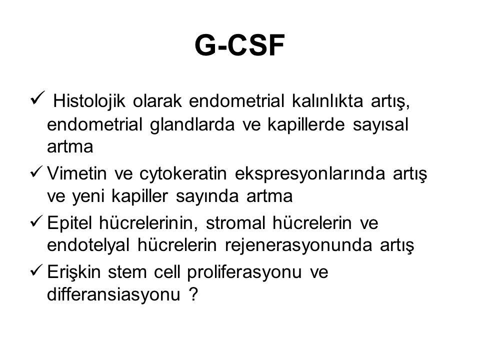 G-CSF Histolojik olarak endometrial kalınlıkta artış, endometrial glandlarda ve kapillerde sayısal artma Vimetin ve cytokeratin ekspresyonlarında artı