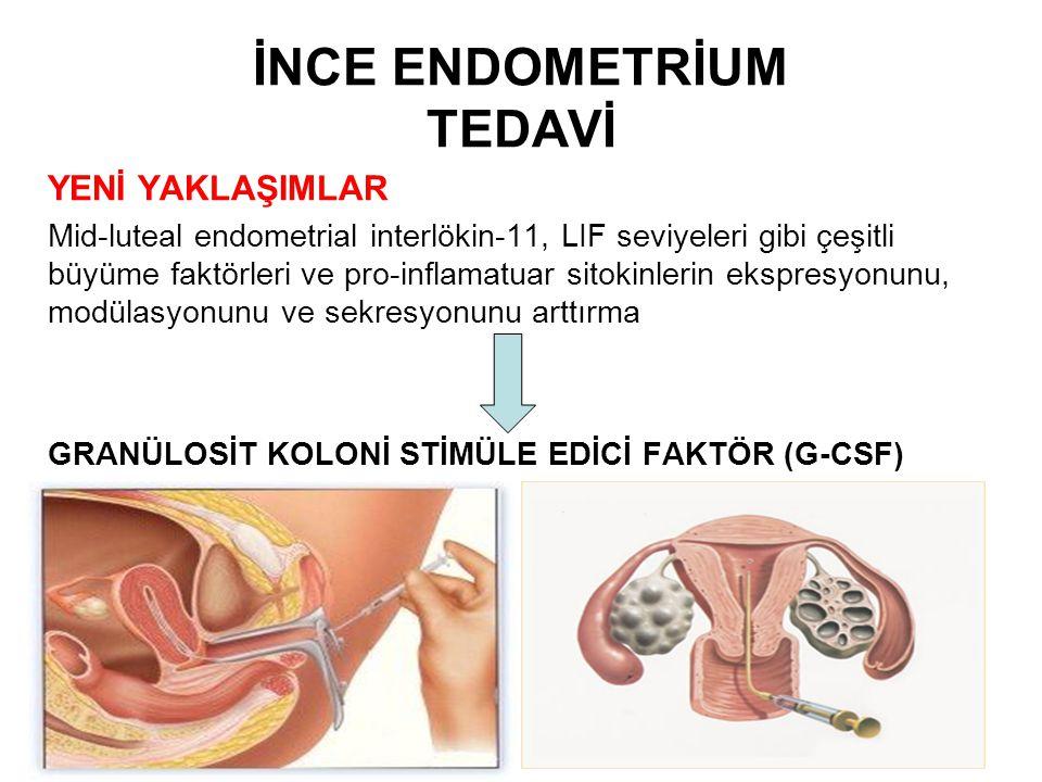 YENİ YAKLAŞIMLAR Mid-luteal endometrial interlökin-11, LIF seviyeleri gibi çeşitli büyüme faktörleri ve pro-inflamatuar sitokinlerin ekspresyonunu, mo