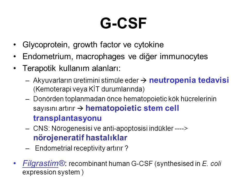 G-CSF Glycoprotein, growth factor ve cytokine Endometrium, macrophages ve diğer immunocytes Terapotik kullanım alanları: –Akyuvarların üretimini stimü