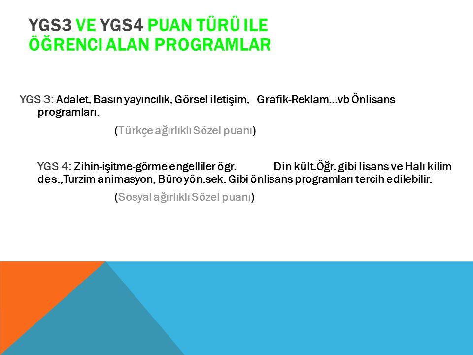 YGS3 VE YGS4 PUAN TÜRÜ ILE ÖĞRENCI ALAN PROGRAMLAR YGS 3: Adalet, Basın yayıncılık, Görsel iletişim, Grafik-Reklam…vb Önlisans programları. (Türkçe ağ