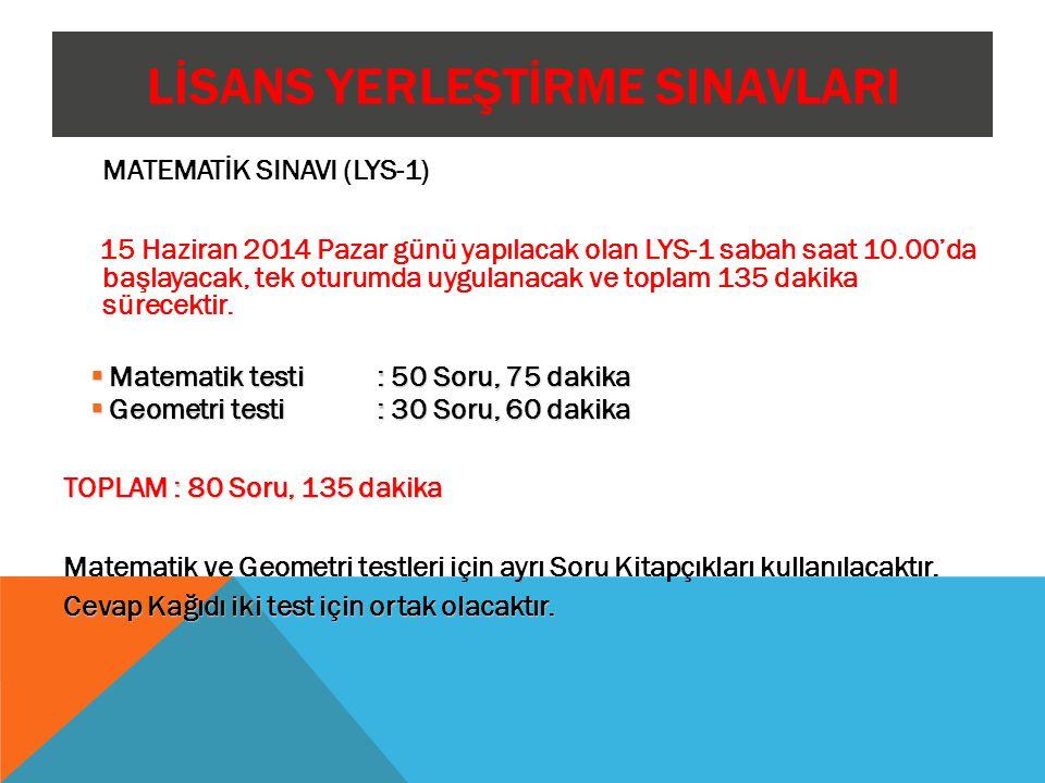 LİSANS YERLEŞTİRME SINAVLARI MATEMATİK SINAVI (LYS-1) 15 Haziran 2014 Pazar günü yapılacak olan LYS-1 sabah saat 10.00'da başlayacak, tek oturumda uyg