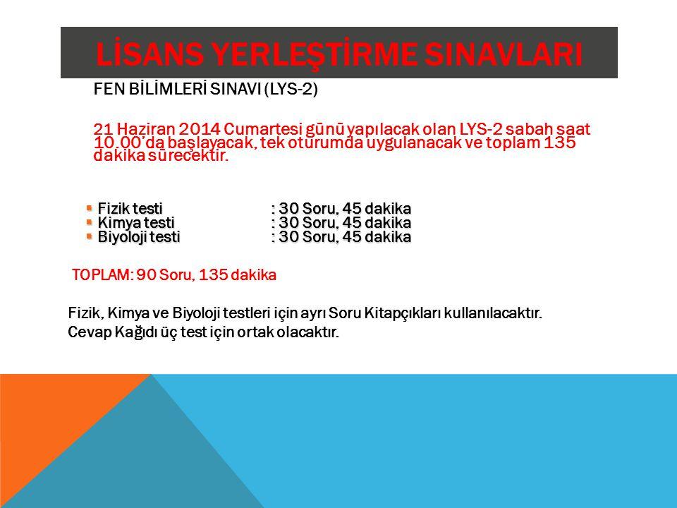 LİSANS YERLEŞTİRME SINAVLARI FEN BİLİMLERİ SINAVI (LYS-2) 21 Haziran 2014 Cumartesi günü yapılacak olan LYS-2 sabah saat 10.00'da başlayacak, tek otur